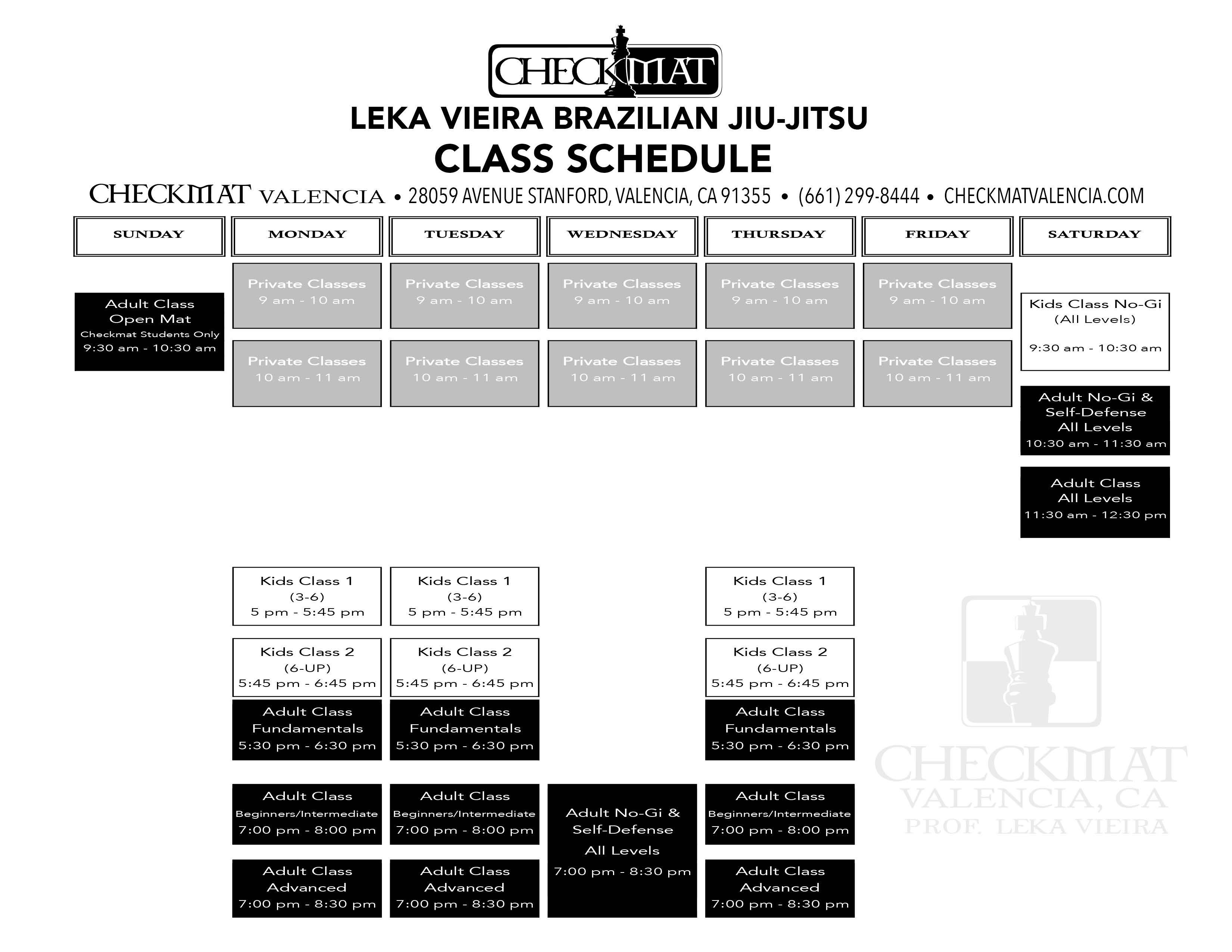 Checkmat Valencia Schedule